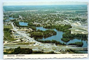 *Aerial Town City View Downtown Seaford Delaware Vintage 4x6 Postcard C07