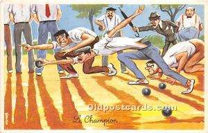 Old Vintage Lawn Bowling Postcard Post Card Le Champion Unused