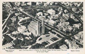 Morocco Postcard Casablanca Sacre Coeur church aerial view