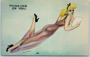 Artist-Signed JAY JACKSON Postcard Blond Girl See-Through Lingerie #352 Linen