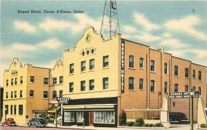 Linen Postcard; Desert Hotel, Coeur d'Alene ID Kootenai County Unposted