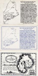Mount Desert Highway Maine 3x Map Postcard s