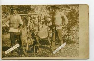 Hunters With Vintage Rifles Guns Dog RPPC Postcard