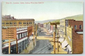 Lewiston Idaho~Main Street West @ 6th~Hardware Store~View Over Wires~c1910 PC