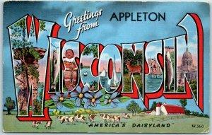 APPLETON, WISCONSIN Large Letter Postcard America's Dairyland KROPP Linen