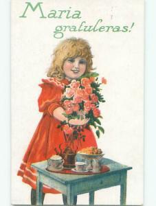 Pre-Linen foreign CUTE EUROPEAN GIRL HOLDS FLOWERS BESIDE TEA SERVICE SET k7603