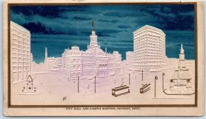 1900s Detroit, Michigan Embossed Postcard CITY HALL AND CAMPUS MARITUS Undivided