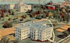 MADISON WISCONSIN~BIRDS EYE VIEW OF UNIVERSITY~1910s TO SPRING GREEN WI POSTCARD