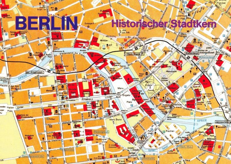 Berlin Germany Postcard Map Plan Historic City Centre Historischer Stadtkern B39