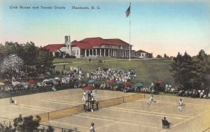 Club House & Tennis Courts, Pinehurst, NC, Early Hand Colored, Postcard, Unused