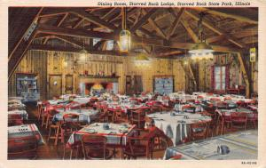 Dining Room, Starved Rock Lodge, Starved Rock, Ilinois, Early Postcard, Unused