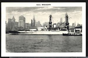 USS Mississippi in New York Harbor Skyline in the Background 1920s