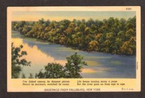 NY Greetings from FALLSBURG NEW YORK Postcard Linen PC