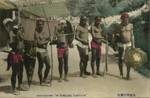 indonesia, MENTAWAI MENTAWEI, Armed Native Warriors (1910s) Postcard (2)