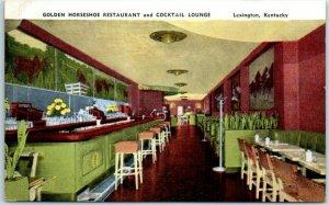 Lexington Kentucky Postcard GOLDEN HORSESHOE RESTAURANT & Cocktail Lounge Linen