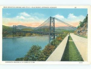 Unused Linen BRIDGE SCENE Manitou & Fort Montgomery - Near Peekskill NY d4132
