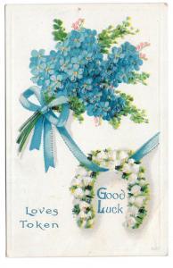 Good Luck Loves Token Forget me nots Horseshoe Postcard
