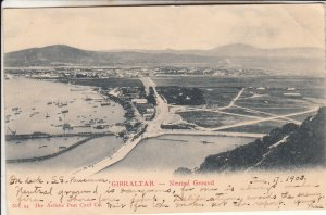 P1875 old postcard gibraltar birds eye view neutral grounds harbor