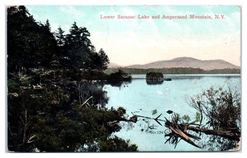 1909 Lower Saranac Lake and Ampersand Mountain, NY Postcard
