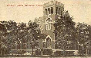 Wellington Kansas~Christian Church~Victorian Lady Under Parasol~c1908 Postcard