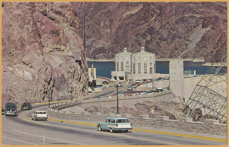 Hoover (Boulder) Dam, Arizona / Nevada - 1950's cars driving over dam