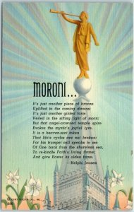 Vintage Religious Postcard MORONI… LDS Mormon Temple Curteich Linen c1940s