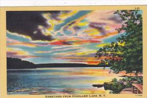 New York Greetings From Highland Lake 1950