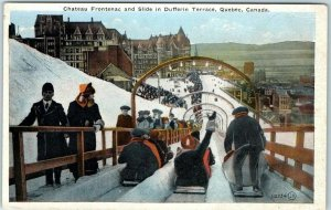 Vintage Quebec City Canada Postcard Chateau Frontenac & Slide Dufferin Terrace