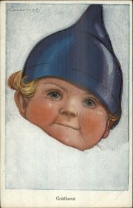 Cute Little Boy Blue Eyes POInted Blue Hat GOLDHARSI Signed c1910 Postcard