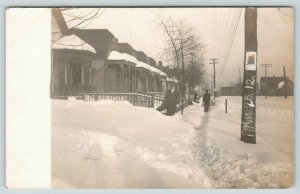 Madison WI~Snow Storm March 25~Foot Deep Evans House~Wm Cool Poster~1912 RPPC