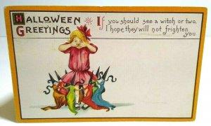 Antique Halloween Postcard Dancing Witches Original Stecher Series 63 D Embossed