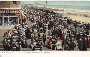 A Pleasant Afternoon on the Boardwalk, Atlantic City, NJ,Early Postcard, Used