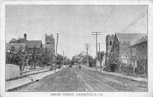 F33/ Gainesville Georgia Postcard Green Street 1912 Church Homes