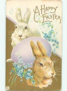 Pre-Linen Easter CUTE BUNNY RABBIT FACES WITH EGG AB3743