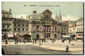 Angers Postcard Old Place of rallying the theater