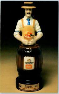 Vintage JIM BEAM WHISKEY Ad POSTCARD Jewel 50th Anniversary Decanter c1980s