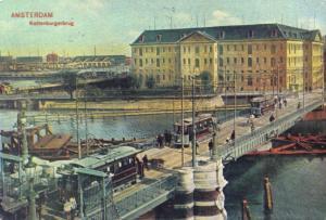 Postcard c1900 TRAMS on kattenburgerburg Bridge AMSTERDAM Reproduction Card
