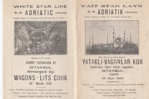 White Star Line, S.S. ADRIATIC Cruise, 1930; Itinerary in Turkish & English