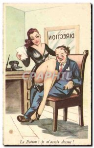 Humor - Illustration - The Boss - pinup - pin up - Old Postcard