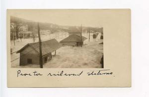 Proctor VT Railroad Station Train Depot RPPC Real Photo Postcard