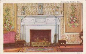 Mississippi Nathcez Propinquity Fireplace 1945 Curteich
