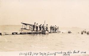 Fremont Lake MI I Rode on Mc Boat One Day~Some on Dock~Deep Water Swim RPPC 1908