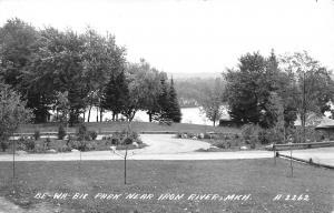 Iron River Michigan~Be-Wa-Bic Park~Circle Drive~Picnic Tables~Shelter~1961 RPPC