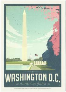 Postcard of Washington DC Washington Monument Travel Poster Style Postcard