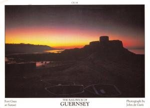 Guernsey Postcard Fort Grey at Sunset Channel Islands by D.R Photography Ltd P29