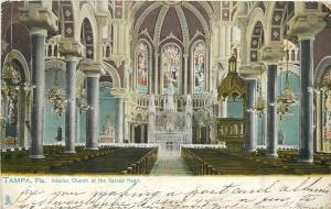 Tampa Florida~Church of Sacred Heart Interior View~Stained Glass~1907 TUCK