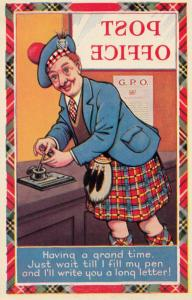 Running Out Of Fountain Pen Ink at Post Office Scottish Old Comic Postcard