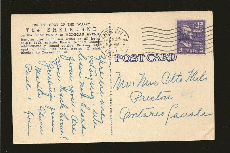 USA Postmark 1951 Atlantic City NJ The Shelburne on The Boardwalk Linen Postcard