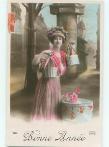 tinted rppc c1910 Fashion WOMAN HOLDING ANTIQUE HAT BOXES FOR HATS AC9187