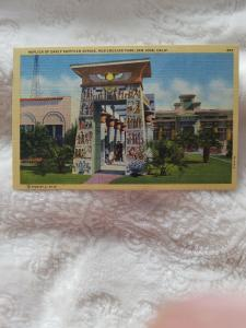 Antique Postcard, Replica of Early Egyptian Shrine, Rosicrucian Park, San Jose